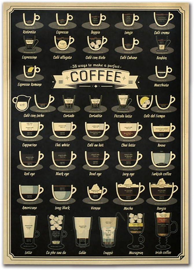 WuWxiuzhzhuo Hei/ßer Cafe Bar Retro Kraftpapier Kunst Dekorative Poster Malerei Bild Home Decor