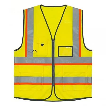 Executive Hi Viz Vis Vest High Visibility Zip Vests 2 Band Reflective Security Work Contractor Safety Mobile Phone Pocket ID Holder Workwear Waistcoat Jacket Top Size S-5XL Yellow,M