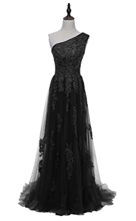HEIMO Womens One Shoulder Lace Evening Party Gowns Appliques Formal Prom Dresses Long H107 0 Black