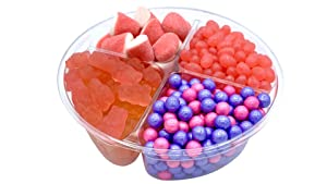 Luxury Gourmet Sweets Candy Gift Platter - Assorted Sampler Basket of Quality Candies - Perfect Baby Shower, Birthday, Thank You, Valentines Gift or Party Food - Snack Tray with Fancy Ribbon - Pink (Pink)