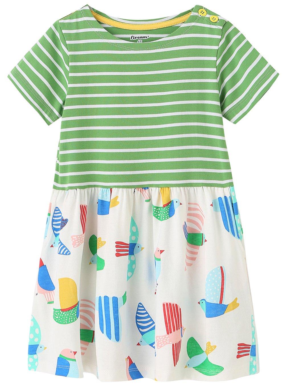 Fiream Girls Dresses,Short Sleeve Summer Cotton Striped Cute Print Pattern Casual Dress for Toddler(154Green,3T/3-4YRS)