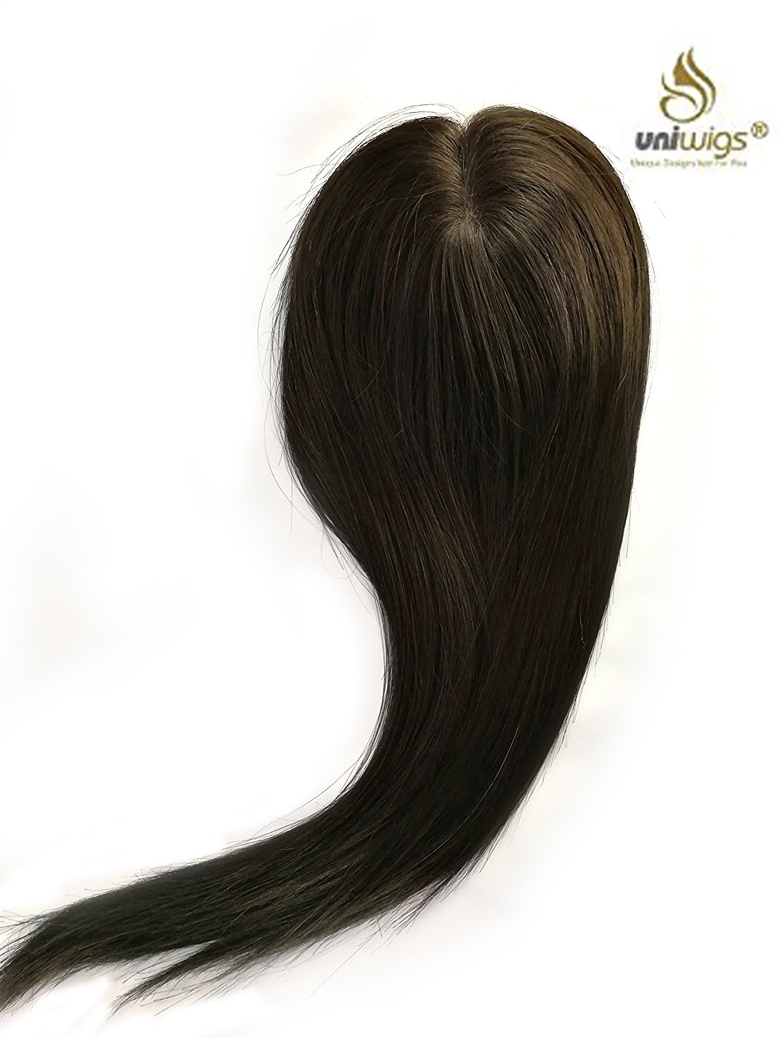 uniwigs Remy Human Hair Mono Piece, Closure, Hand Made Tied Hair Topper, Straight 16'' for Hair Loss (Y-1B)