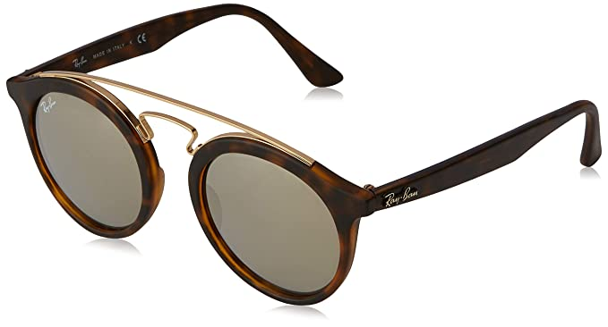 Ray-Ban Gafas de sol de Gatsby en la Habana mate espejo oro marrón ligero RB4256 60925A 46