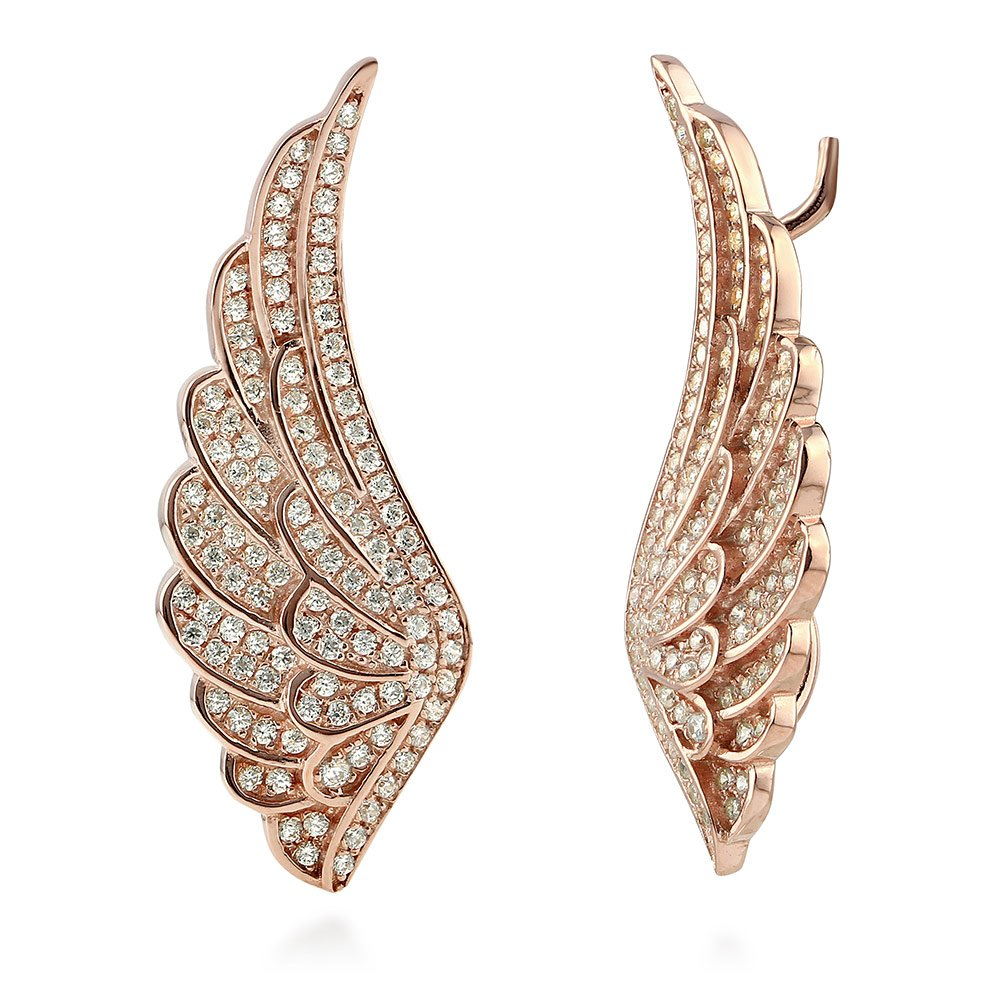 BERRICLE Rose Gold Flashed Sterling Silver Cubic Zirconia CZ Angel Wings Fashion Ear Crawlers