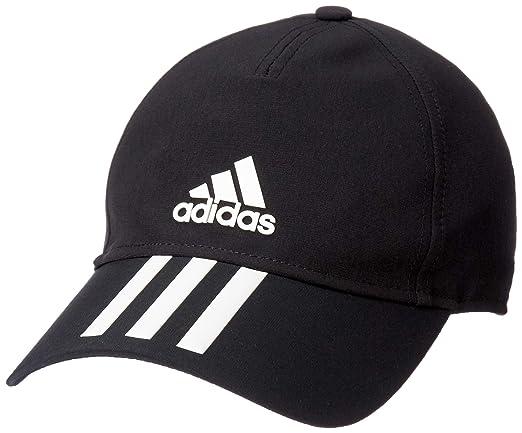 0365d410f5406 Adidas Unisex Black C40 6 Panel 3-Stripes Climalite Cap  Amazon.in   Clothing   Accessories