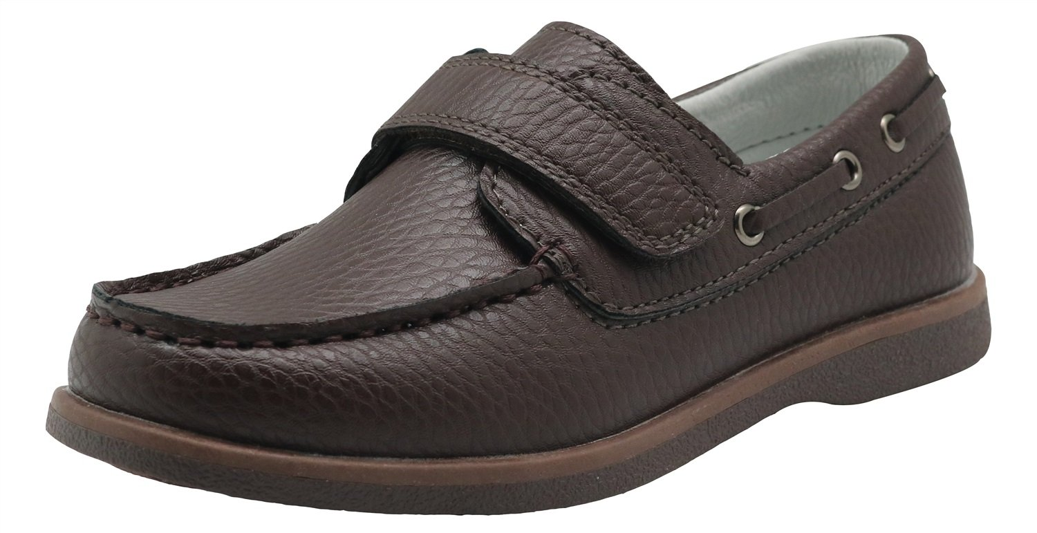 Apakowa Kids Boys Loafers Casual Slip On Boat Shoes with Strap (Toddler/Little Kid/Big Kid) (Color : Brown, Size : 8.5 M US Toddler)