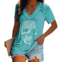 Camisetas con Estampado de Calavera para Mujer, Camisetas de Manga Corta Sueltas con Cuello en V Profundo y Calavera a…