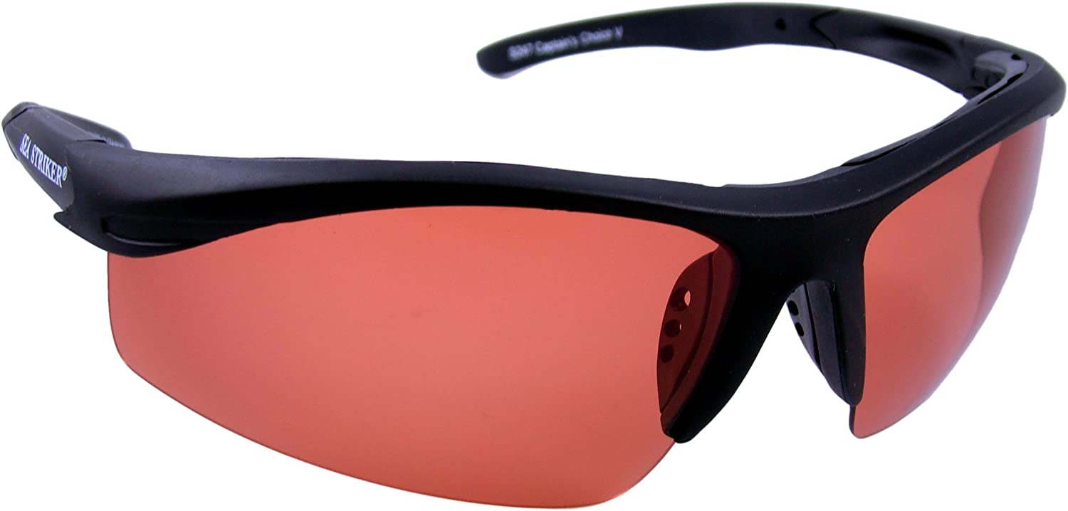 Sea Striker Captain s Choice Polarized Sunglasses with Black Frame and Vermillion Lens Fits Medium to Large Faces