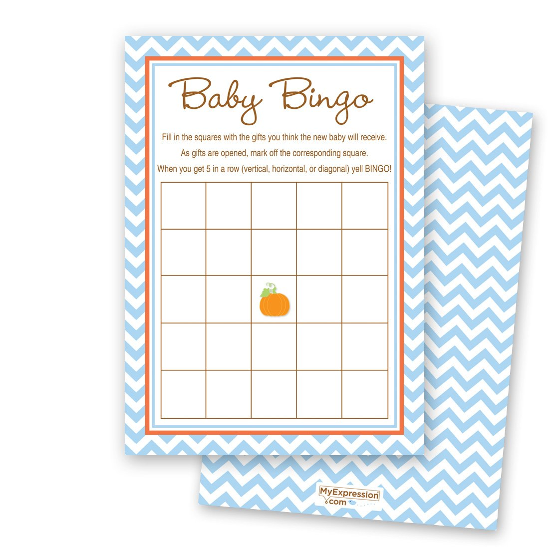 MyExpression.com 24 Cnt Pumpkin Blue Chevron Baby Shower Bingo Cards by MyExpression.com