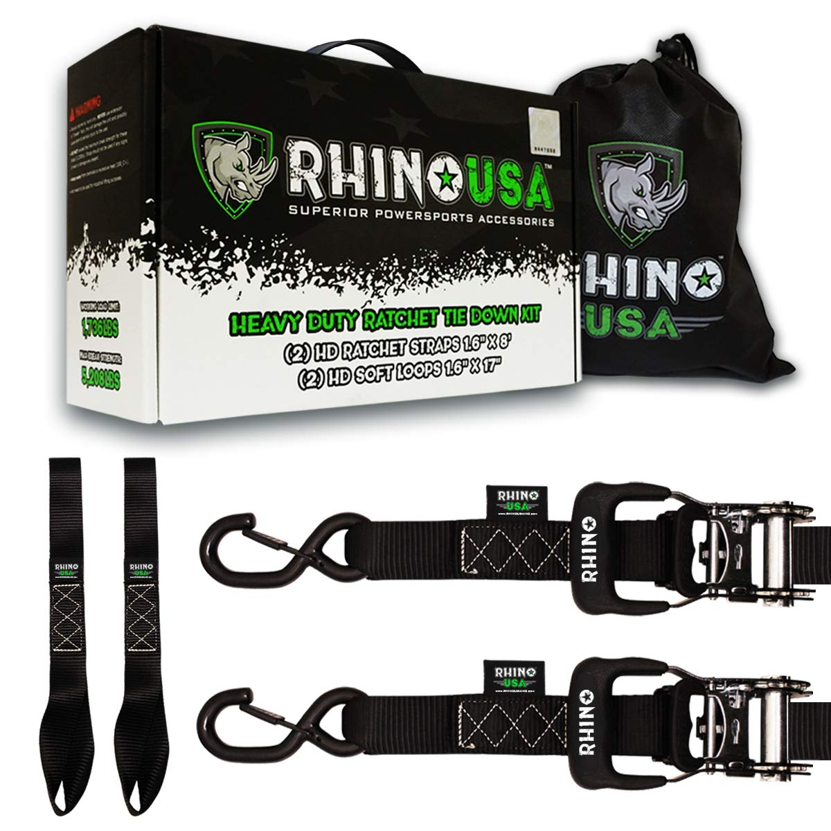 HINO USA Ratchet Straps Motorcycle Tie Down Kit