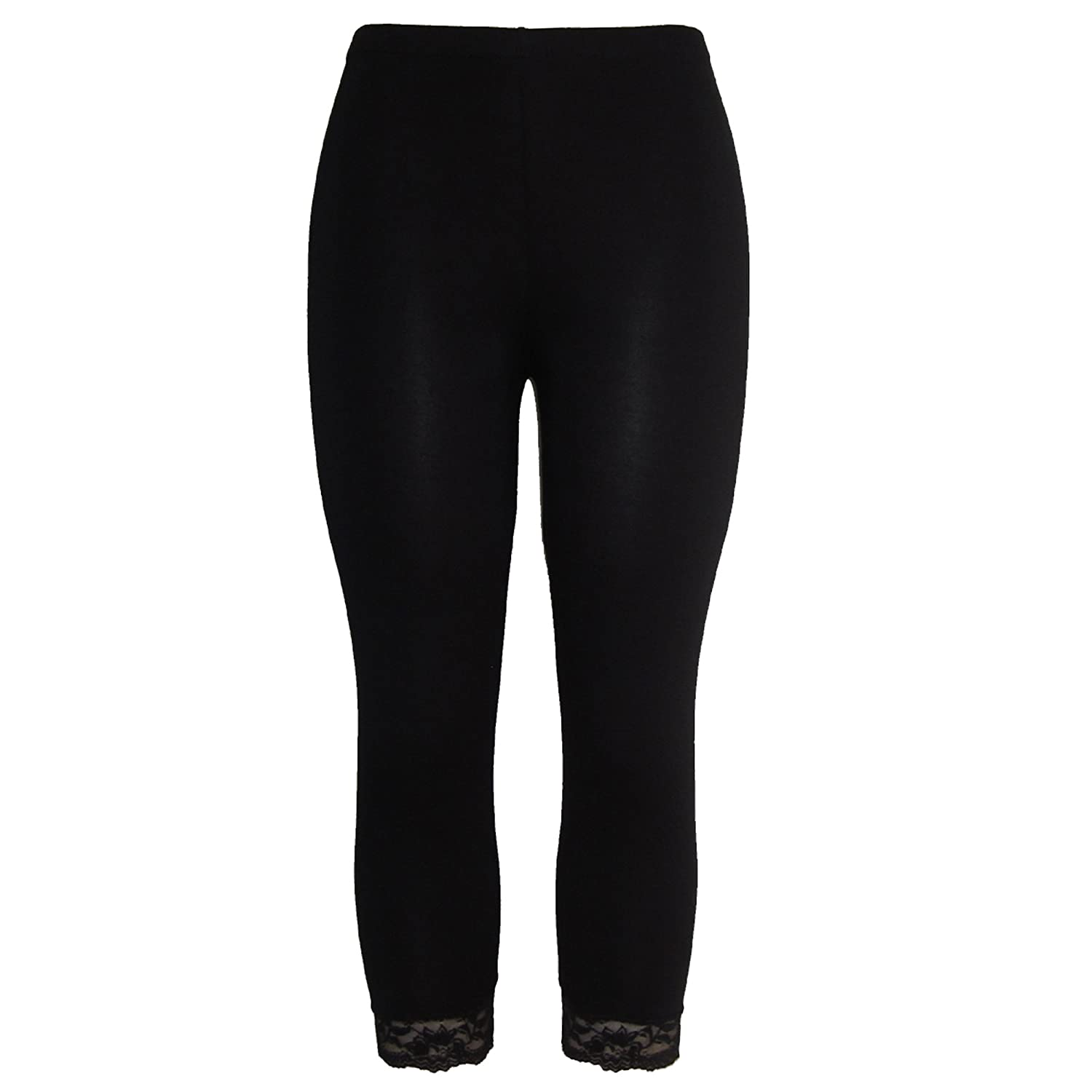 3590c7dd2d1fe1 Body2Body Women's Bottom Lace 3/4 Ladies Cropped Legging in Assorted Color  & Sizes: Amazon.co.uk: Clothing