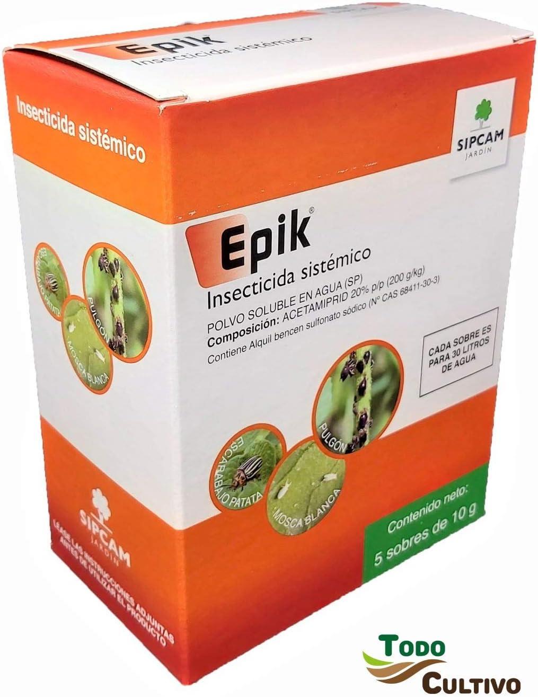 Epik Insecticida sistémico acetamiprid 20%. Caja de 50 grs (5x10grs). JED. Tratamiento para 150 litros contra pulgón, Mosca Blanca, Escarabajo Patata, cicadelicos.