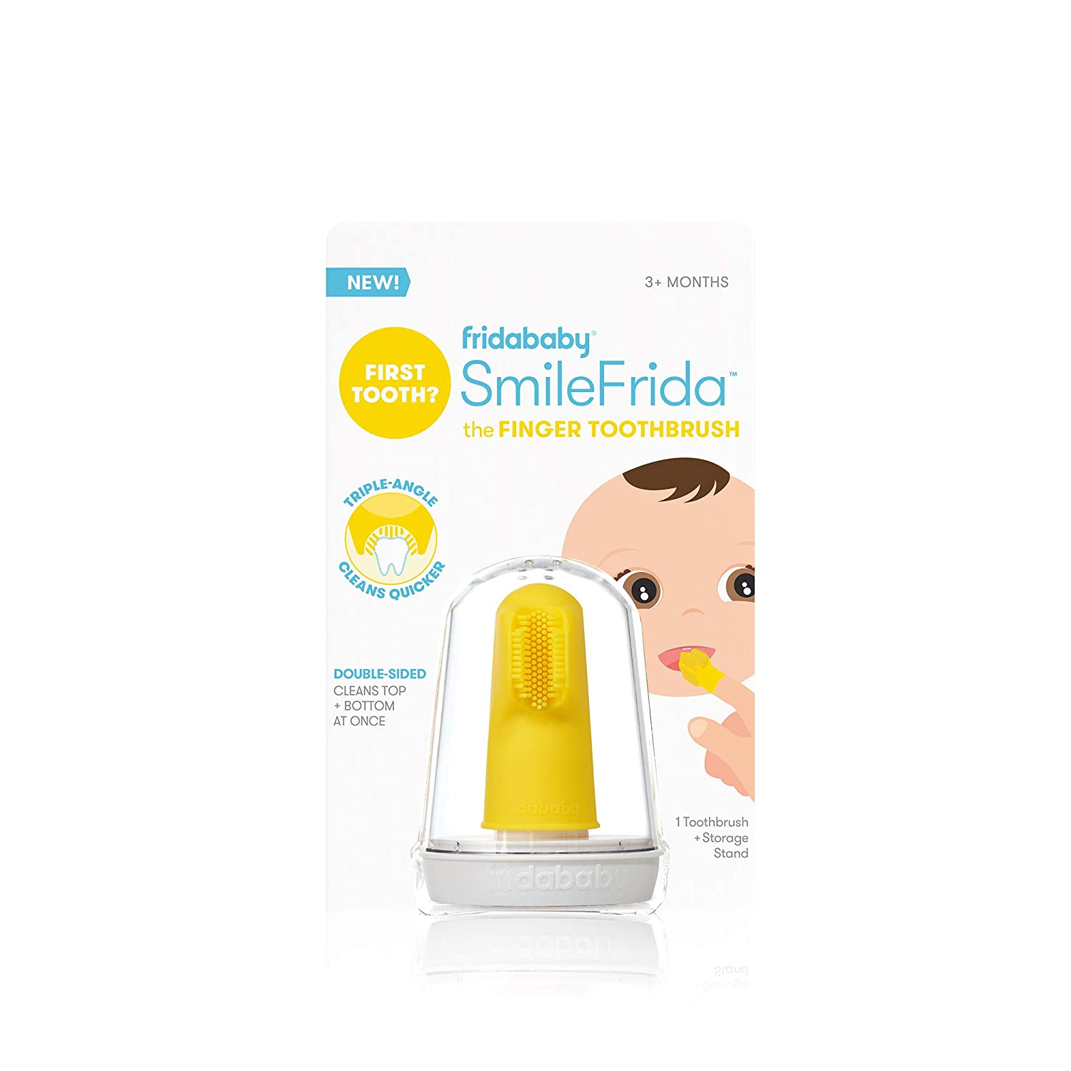 Baby's First Toothbrush with Case, Silicone, BPA-Free - SmileFrida the Finger Toothbrush by Fridababy, cleans teeth and gums with double-sided brush for babies 3 months and up