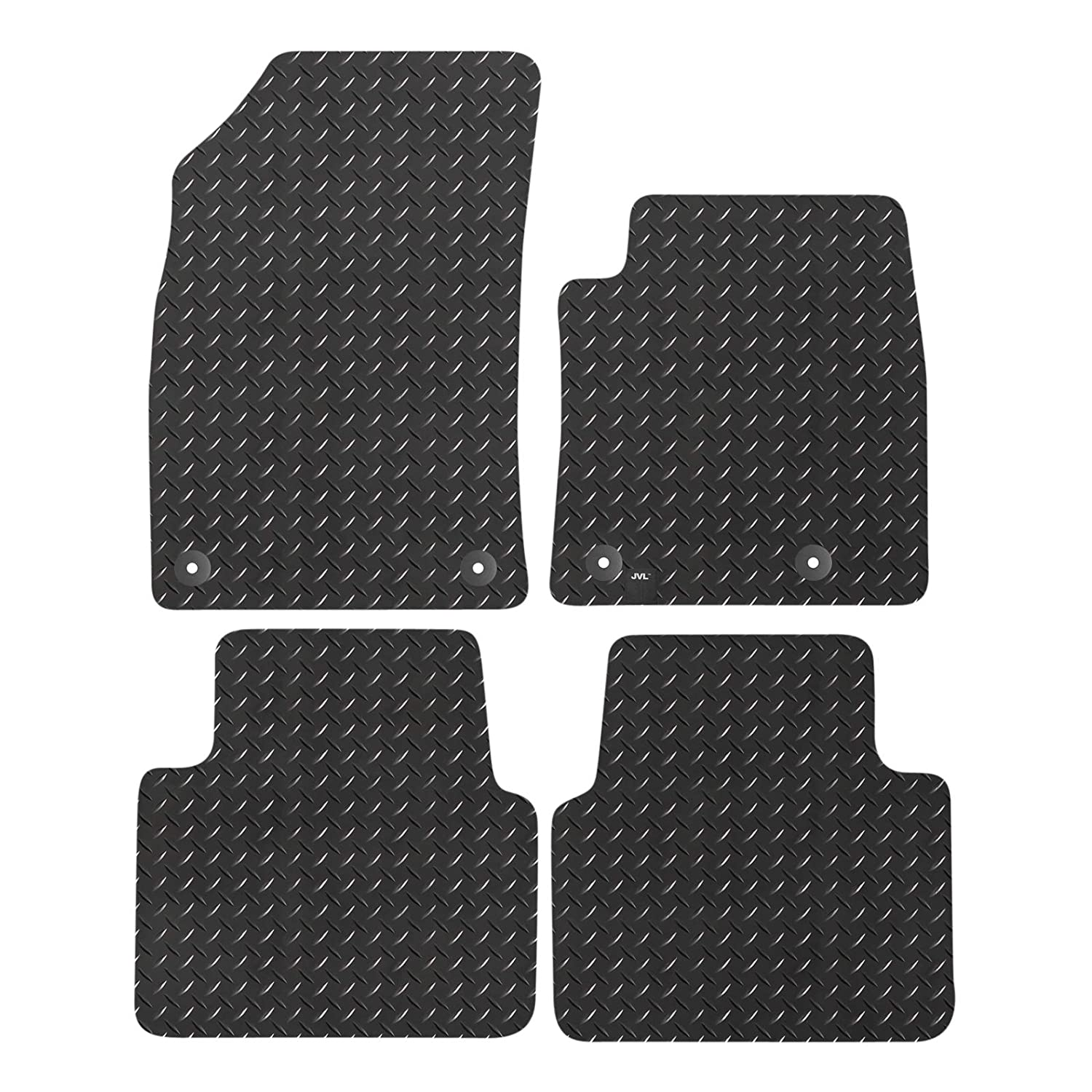 JVL Fully Tailored Rubber Car Mat Set for Crossland 2017-On Black