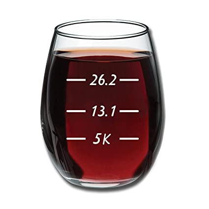 Runners Measurements Funny 15 Ounce Stemless Wine Glass
