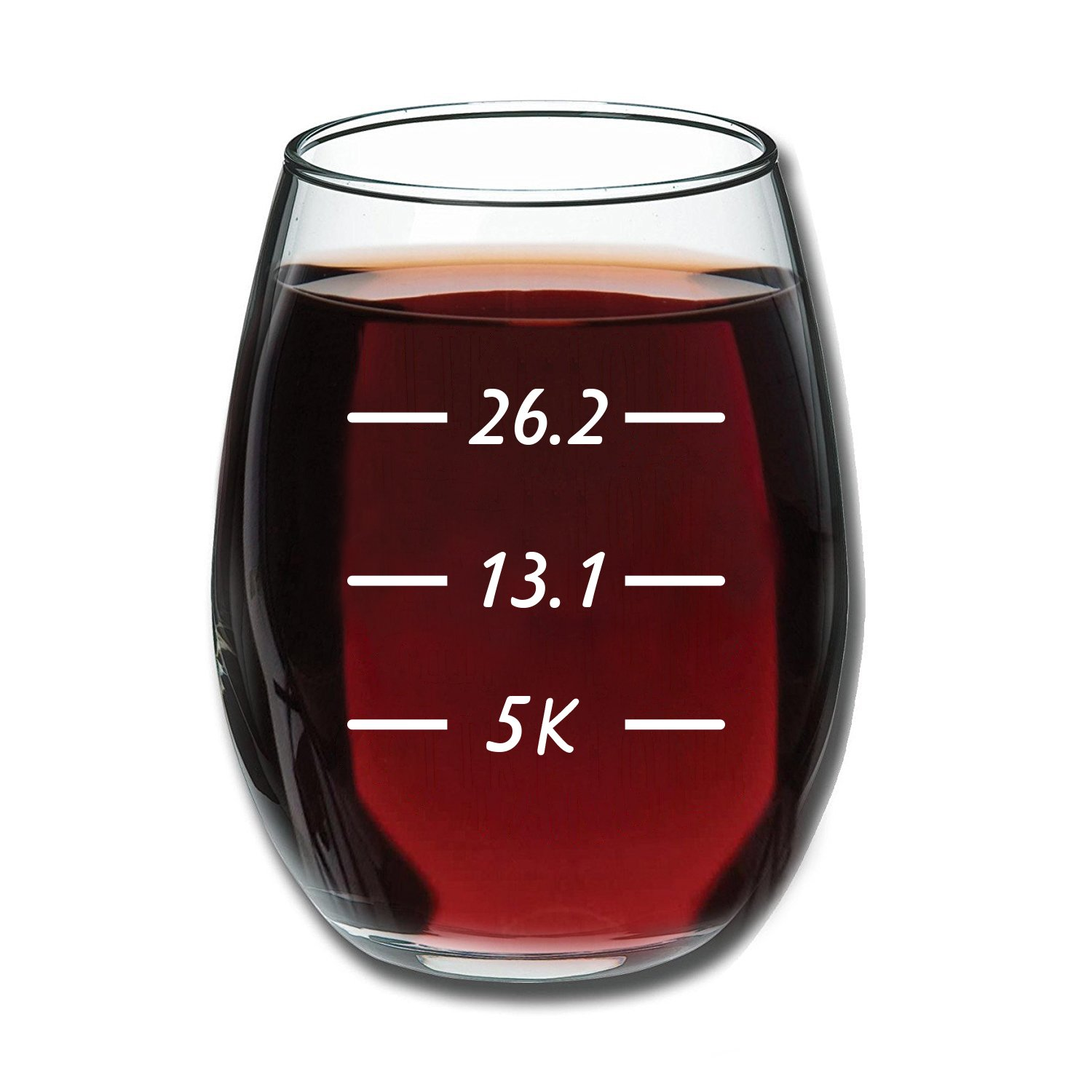 Runner's Measurements Funny 15 Ounce Stemless Wine Glass | Unique Birthday Gift Idea for Mom, Dad, Wife, Husband, Sister, Best Friend | Birthday Gifts for Men or Women