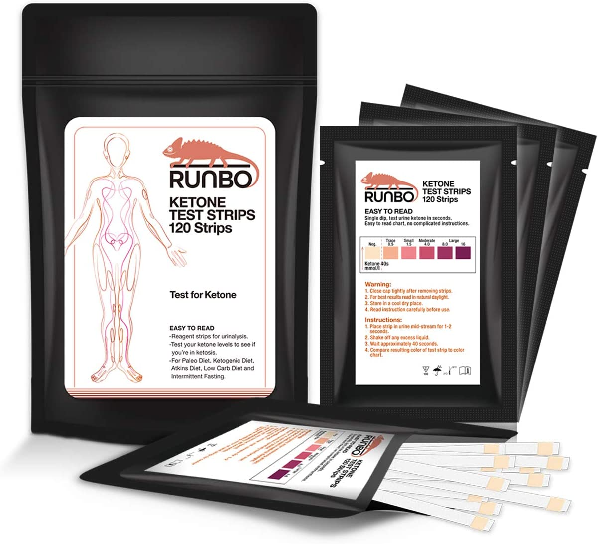 RUNBO Ketone Test Strips 120 Counts in 3 Bags. Accurate and Easy for Urine Keto Level Test. Perfect Test Strips if You are on Low Carb, Paleo, Ketogenic Dieters. Easy to Carry to Everywhere.: Health & Personal Care