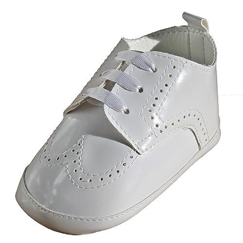 Sneaker con Suola Morbida Scarpette Neonato Cerimonia Battesimo (13 EU, Bianco)