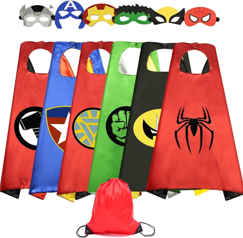 Capas de Superhéroe para Niños, Capa y Máscaras y Pulseras,de Fiesta de Cumpleaños de Navidad Víspera de Todos los Santos Los Mejores Regalos,Ideas Kit de Valor de Cosplay de Diseño (A-6 PAQUETE)