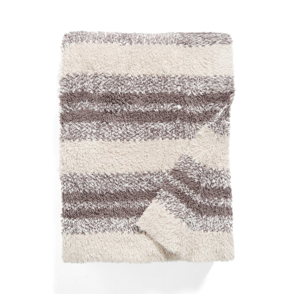 (Stone) - Barefoot Dreams Cozychic Multi Stripe Heathered Blanket 110cm x 150cm, Stone/Charcoal / White B01LXPCIGK ストーン