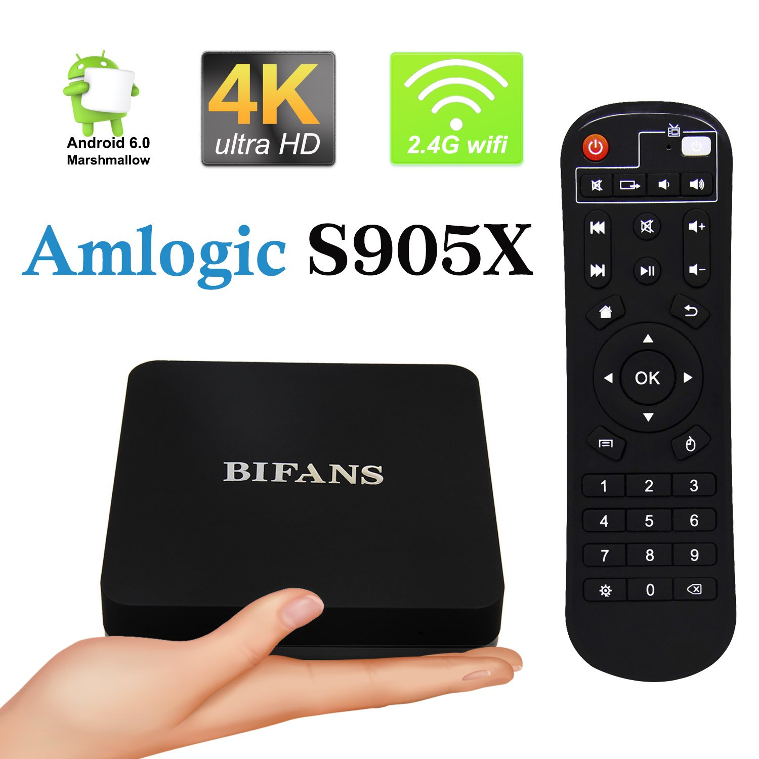Android 6.0 TV Box, Pro RAM 1GB ROM 8GB Android TV Box Amlogic S905X Quad-Core 64 Bits and True 4K HDR Ultra-HD Streaming Media Players with IR Remote Control Black (S905X)