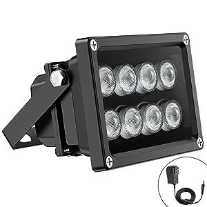 Univivi IR Illuminator 90 Degree Wide Angle 8-LEDs IR Infrared Light Security Cameras.