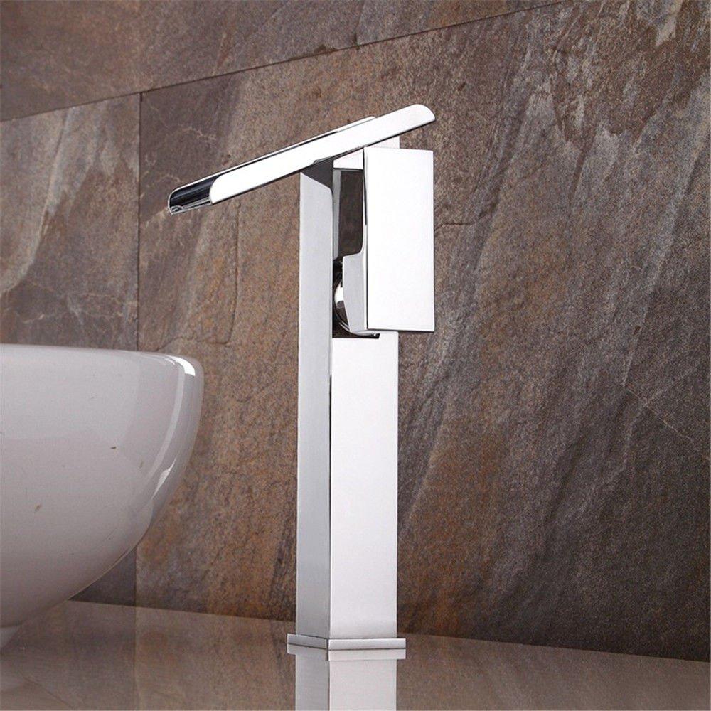 ANNTYE Waschtischarmatur Bad Mischbatterie Badarmatur Waschbecken Messing Silber Silber Silber Chrom Maul Wasserfall Badezimmer Waschtischmischer 145a43