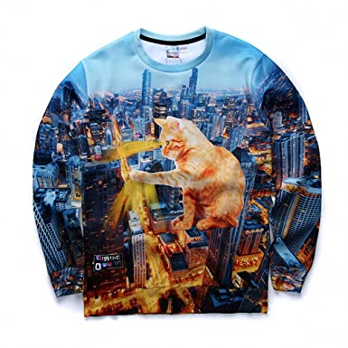 Crochi Arrive Men/Women Town and Cat Printed Sweatshirt Animal 3D Print Sweatshirts Crewneck On Both Side Sudaderas Hombre at Amazon Womens Clothing store: