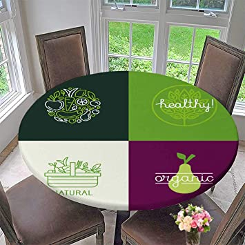 amazon com round polyester tablecloth table cover vector design