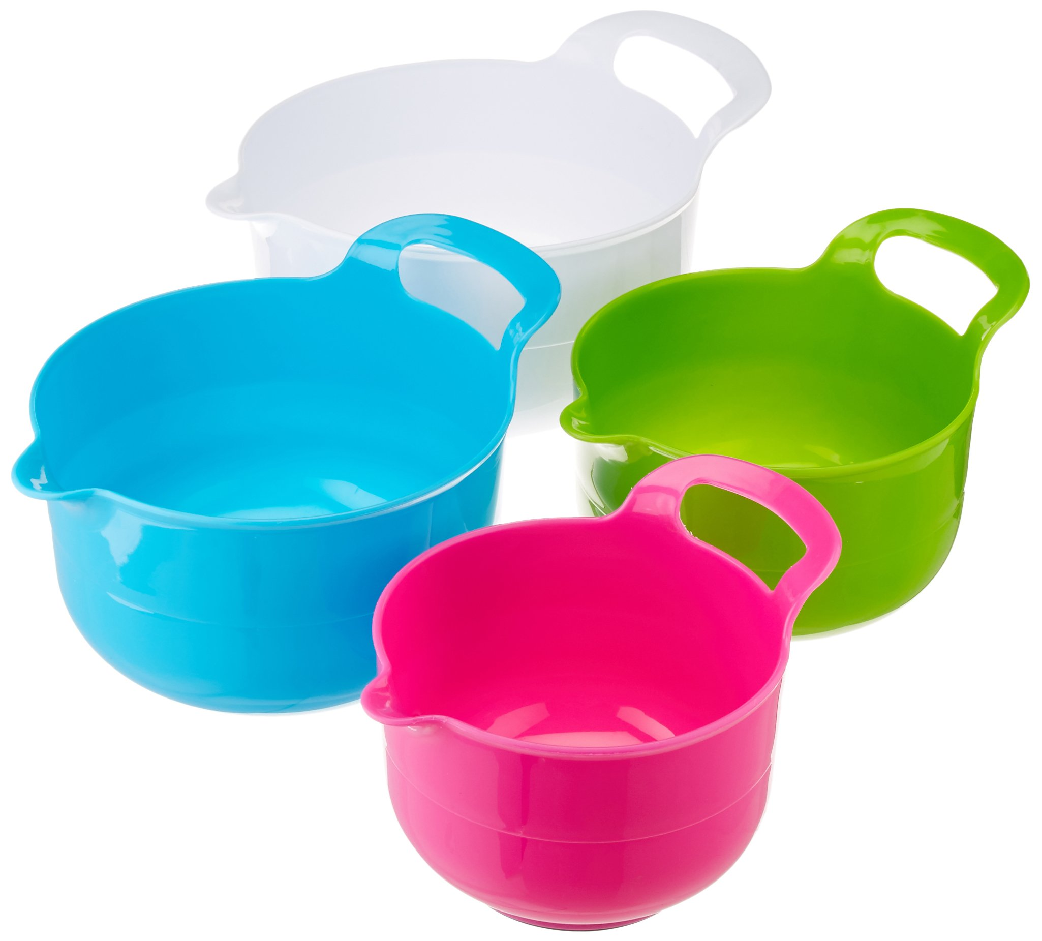 Gourmet Home Products 136744 Polypropylene Batter Bowl Set with Non Skid Bottom, 4 Piece, White