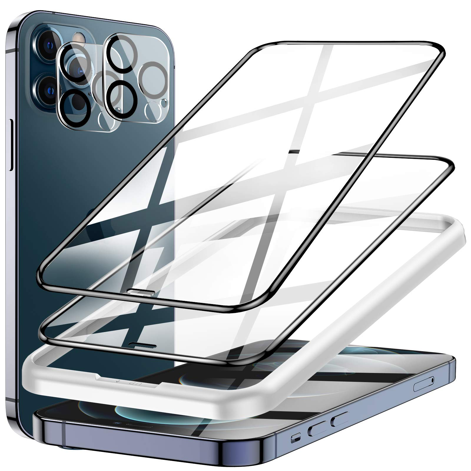 4 Pack LK 2 Pack Screen Protector + 2 Pack Camera Lens Protector Compatible with iPhone 12 Pro Max 6.7-inch, 9H Tempered Glass, Full Coverage, Shatterproof, Come with Easy Frame Installation Tray