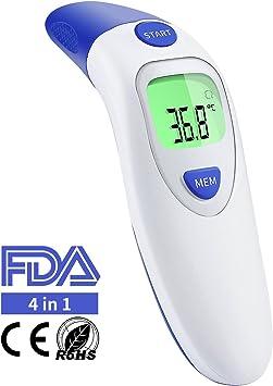 Term/ómetro de o/ído Term/ómetro Term/ómetro frontal infrarrojo CE//FDA Certificado profesional de 4/en 1/M/édico Term/ómetro Digital para beb/é ni/ños Adulto objeto con fiebre indicador