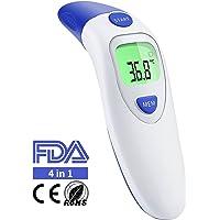 Fieberthermometer Ohrthermometer Infrarot Stirnthermometer, Professionelle 4-IN-1 Medizinisches Thermometer Digital für Baby Kinder Erwachsenen objekt mit Fieber Indikator, CE/FDA Zertifiziert