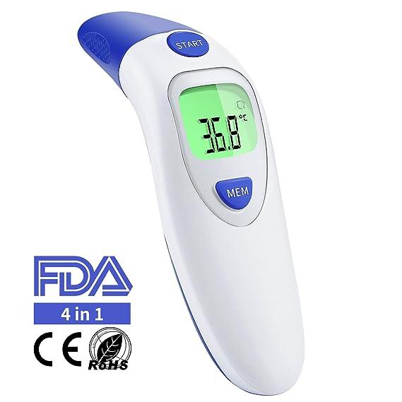 Termómetro médico para oído o frente con infrarrojos. Termómetro digital profesional 4 en 1 para bebés, niños o adultos. Cuenta con indicador de fiebre.