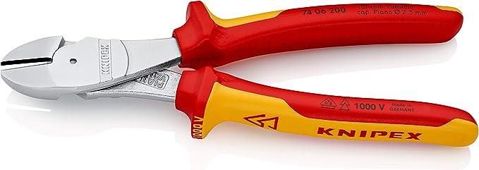 KNIPEX 74 06 250 Pince coupante de c/ôt/é /à forte d/émultiplication chrom/ée isol/ées par gaines bi-mati/ère certifi/ées VDE 250 mm