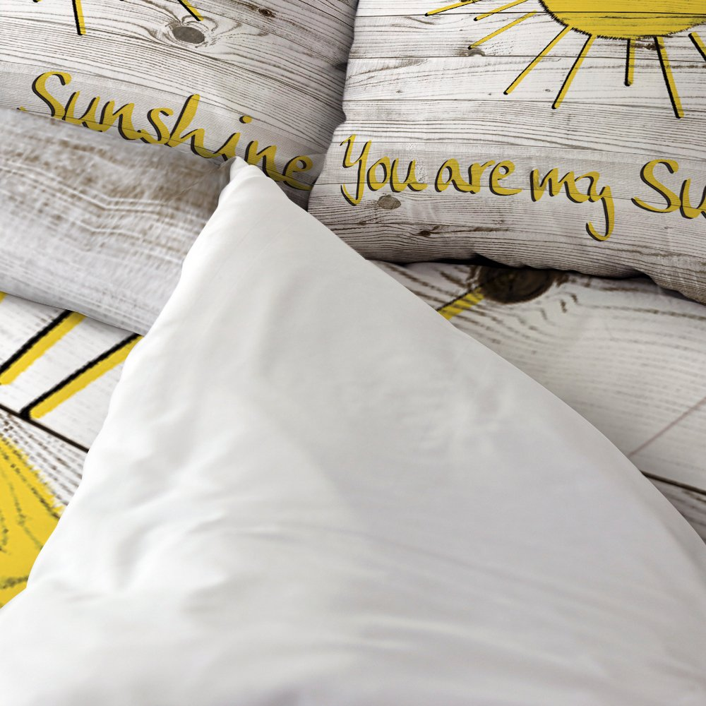 Vandarllin You Are My Sunshine 4 Piece Bedding Sets Twin Size,Rustic Country Barn Wood Printed Duvet Cover Set Decorative Bedspread For Kids/Childrens/Teens/Adults, by Vandarllin (Image #2)