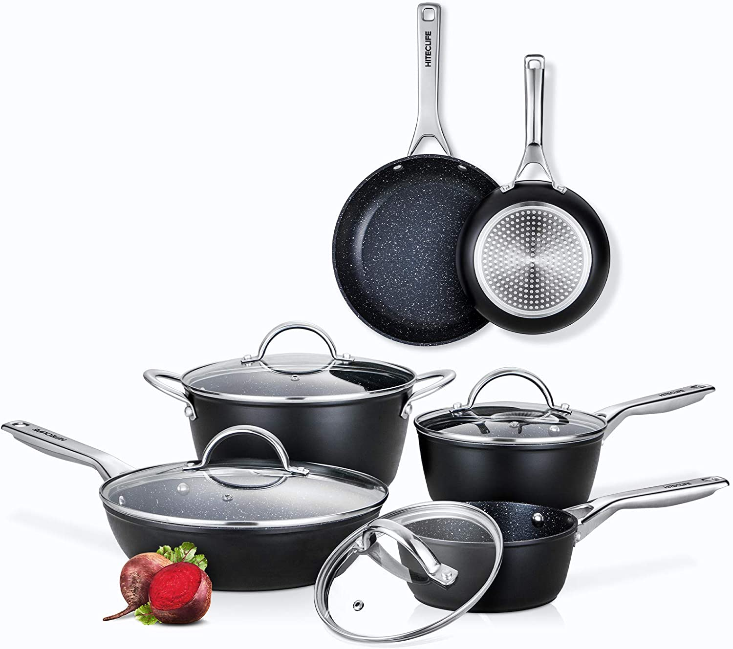 Home Kitchenware with Saucepan 3-Piece Non-Stick Cookware Pot Set with lid Eco Friendly