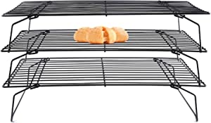 Lainrrew 3 Tier Stackable Cooling Rack, Non-stick Baking Roasting Rack for Cookies, Pies, Pastries, Collapsible & Foldable