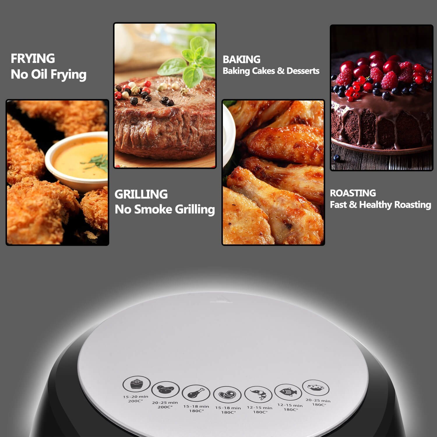 Amazon.com: Kintech Depp Air Fryer 3.2 QT, Electric Hot Air Fryer with Time & Temperature Control: Kitchen & Dining