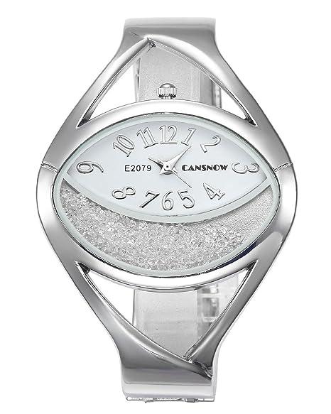 jsdde Relojes Mujer Reloj De Pulsera Chic Manguito Media Luna Brillantes Horquillas Reloj Mujer Pulseras Reloj de Cuarzo Plata Blanco: Amazon.es: Relojes