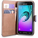 iDefend Samsung Galaxy J3 Case Black Genuine Leather Wallet Cover
