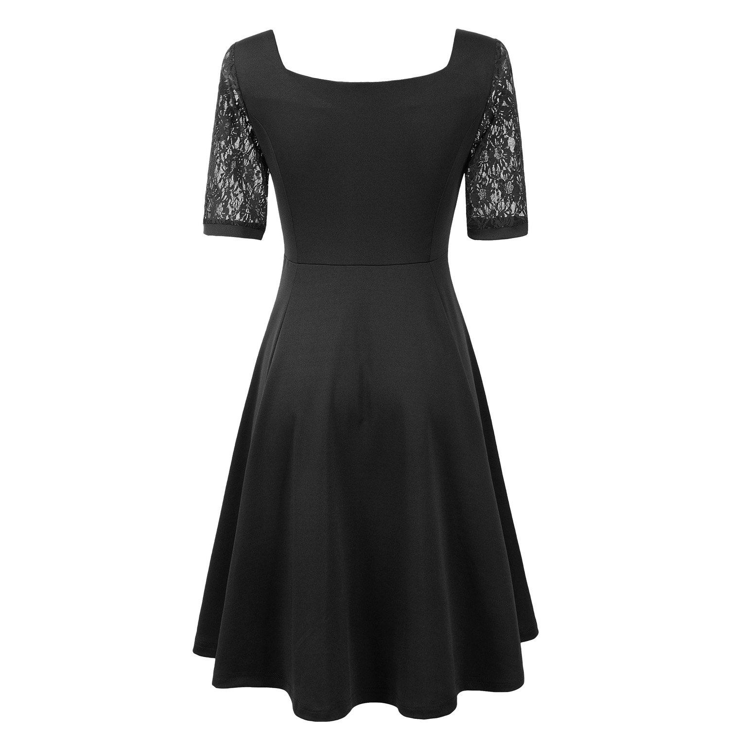 Pinup Fashion Womens Casual Lace Half Sleeves Dress Work Cocktail Party Swing Dresses Black X-Large: Amazon.co.uk: Clothing