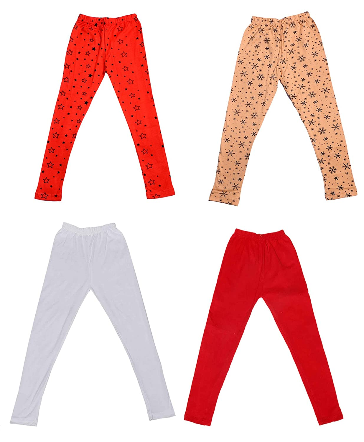 Pack Of 4 and 2 Cotton Printed Legging Pants /_Multicolor/_Size-1-3 Years/_71403041619-IW-P4-22 Indistar Girls 2 Cotton Solid Legging Pants
