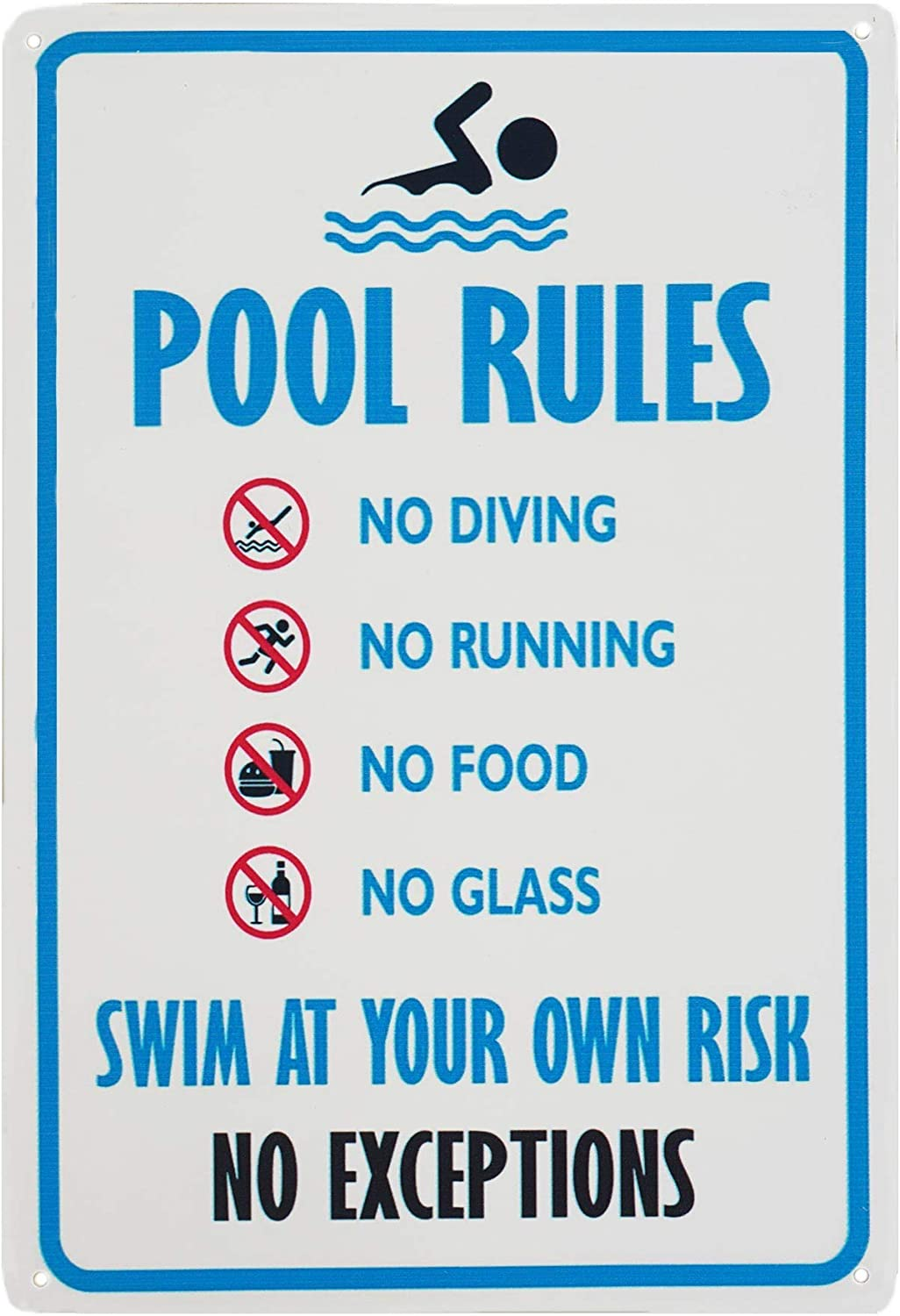 Bit SIGNSHM Safety No Diving No Running No Food No Glass Swim at Your Own Rish No Exceptions Pool Rules Retro Metal Tin Sign Plaque Poster Wall Decor Art Shabby Chic Gift Suitable 12x8 Inch