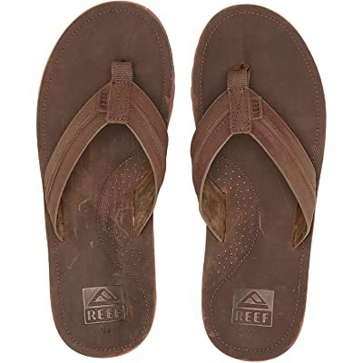 Reef Mens Sandal Voyage Lux | Premium Real Leather Flip Flops for Men With Soft Cushion Footbed | Waterproof: Shoes