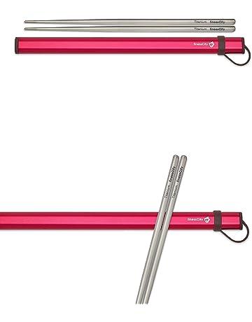 finessCity Palillos de Titanio Extra Fuertes Ultra Ligero Profesional (Ti), Palillos Viene con