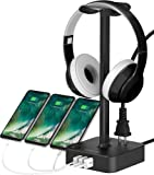 Headphone Stand with USB Charger COZOO Desktop Gaming Headset Holder Hanger with 3 USB Charger and 2 Outlets - Suitable…