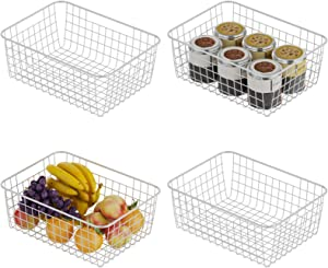Veckle Wire Storage Basket, 4 Pack Metal Wire Baskets for Storage Pantry Organizer Storage Bin Baskets with Handles for Kitchen Cabinets, Pantry, Bathroom, Countertop, Closets, White