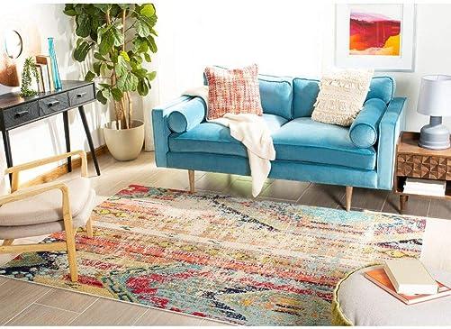 Safavieh Madison Collection MAD422F Boho Abstract Distressed Area Rug, 12 x 18 , Blue Orange