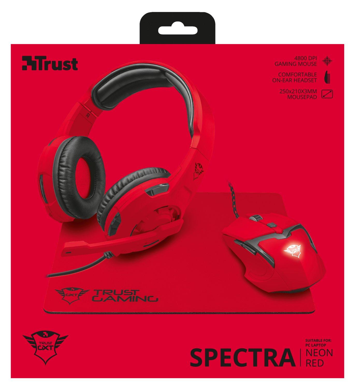 Trust Gaming GXT 790-SB Spectra - Pack Gaming 3 en 1: Auriculares, ratón y Alfombrilla, Rojo: Amazon.es: Informática